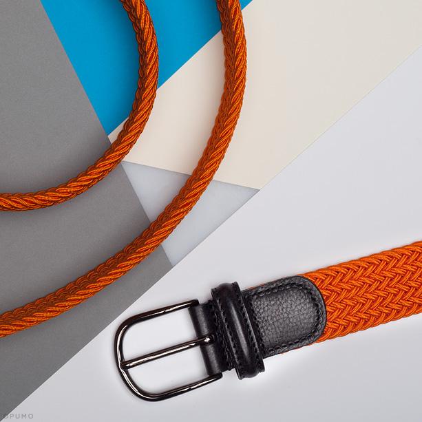 Opumo-ANDERSONS-BELTS-Orange-Elasticated-Woven-Belt