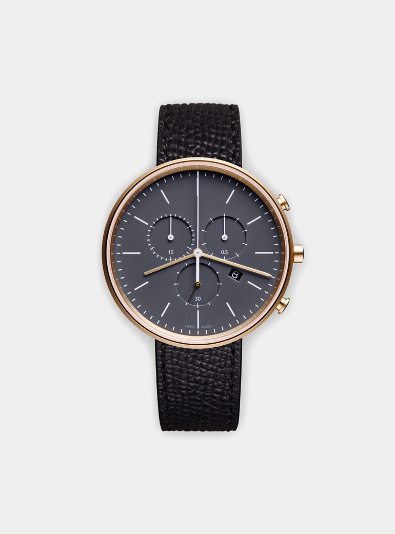 Uniform Wares M40 Satin Gold Chronograph Watch