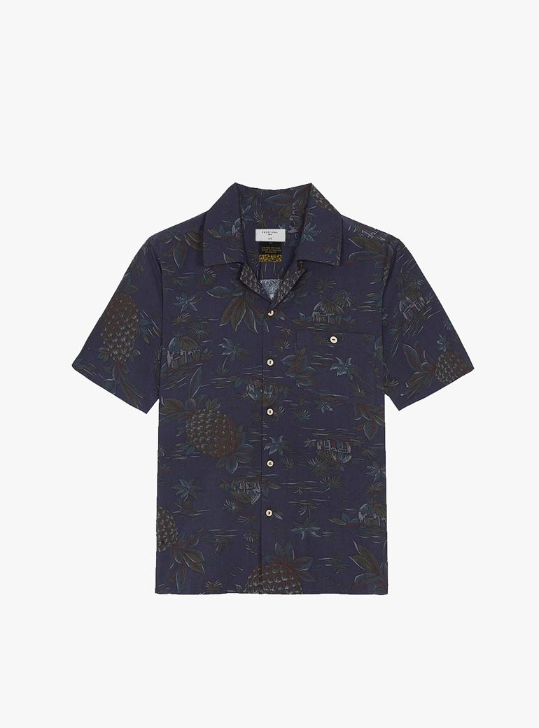 Percival Cuban Collar Black Palm Short Sleeve Shirt