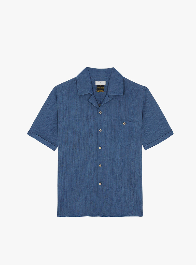 Percival Cuban Collar Indigo Linen Short Sleeve Shirt
