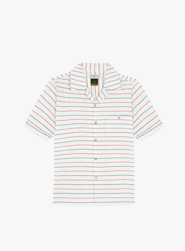 Percival Cuban Collar Whaffle Stripe Short Sleeve Shirt