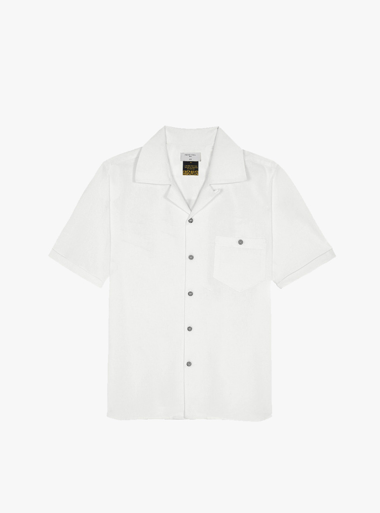 Percival Cuban Collar White Short Sleeve Shirt