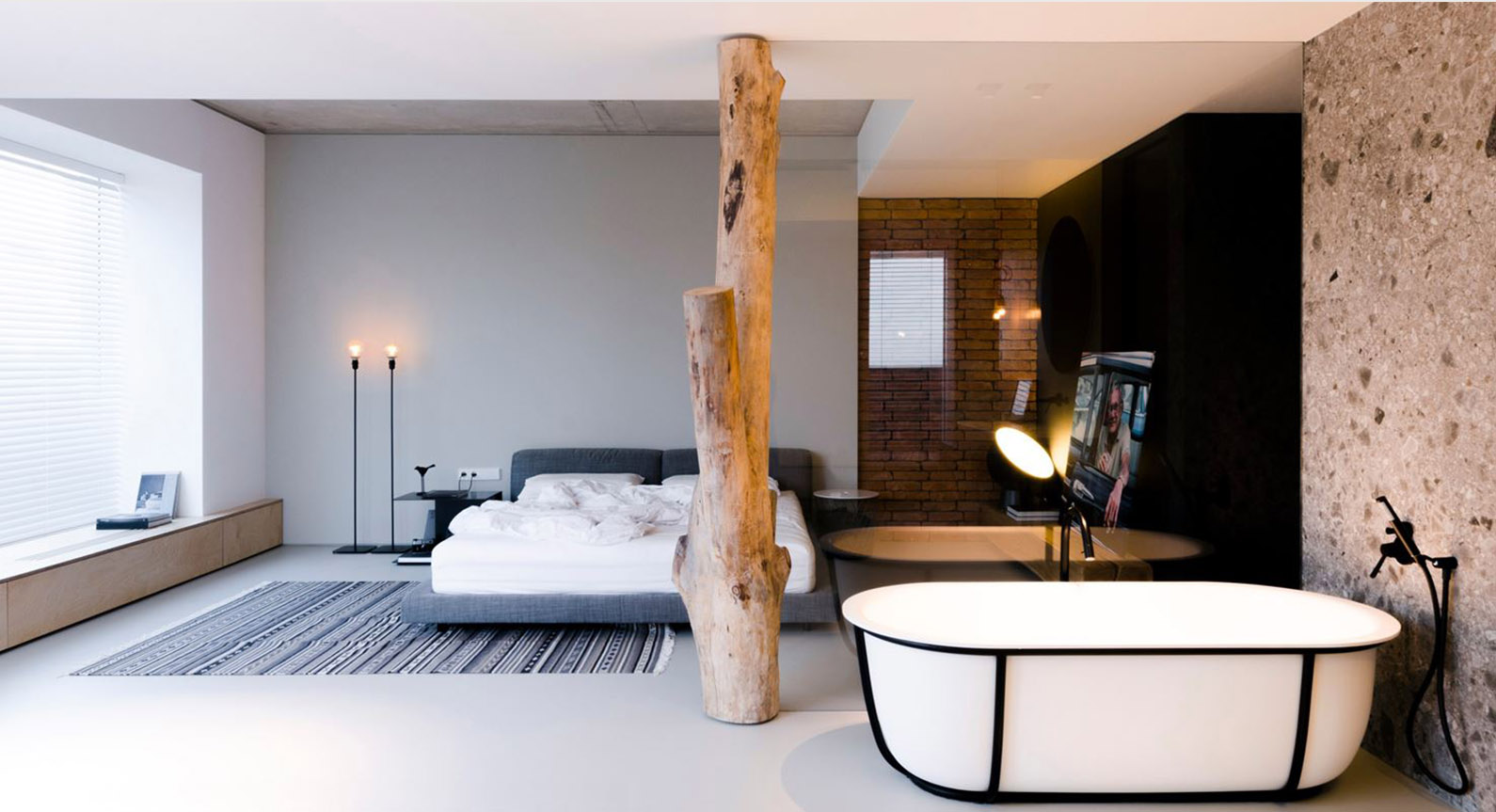 This Moldovan Penthouse By Line Architects Features A Tree Trunk In Bedroom